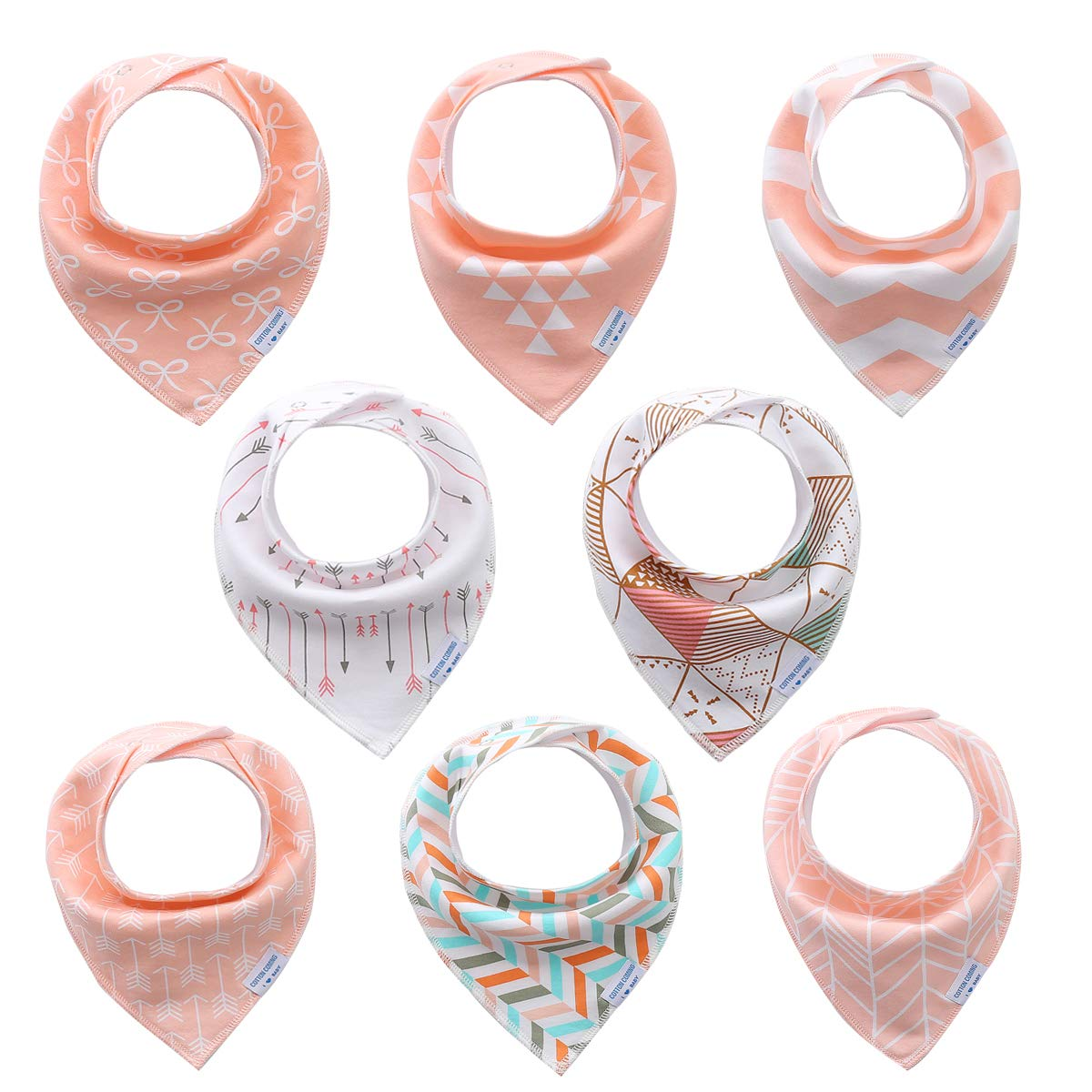 Pink Baby Bandana Drool Bibs for Girls 8 Pack Set,Organic Cotton,Soft and Absorbent, Hypoallergenic Baby Feeding Bibs and Baby Teething Bibs Gift Set for Newborns, Infants and Toddler (Pink 02) by Cotton Coming