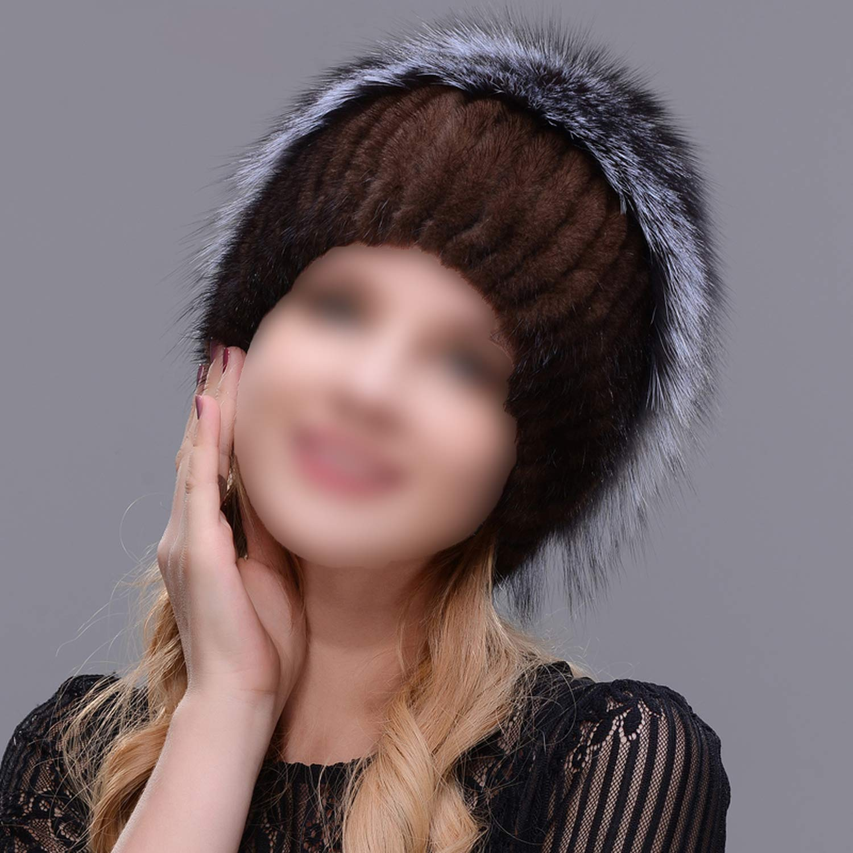 Russian Knit Cap New Listing Mink and Fox hat Real Fur hat Cap hat Winter Woman ski Cap
