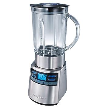 ProfiCook PC-UM 1006 Batidora de vaso, jarra de cristal 1,8 l, regulador velocidad electrónico, 1200 W, 1 Decibelios, Vidrio, 5, Negro y Gris