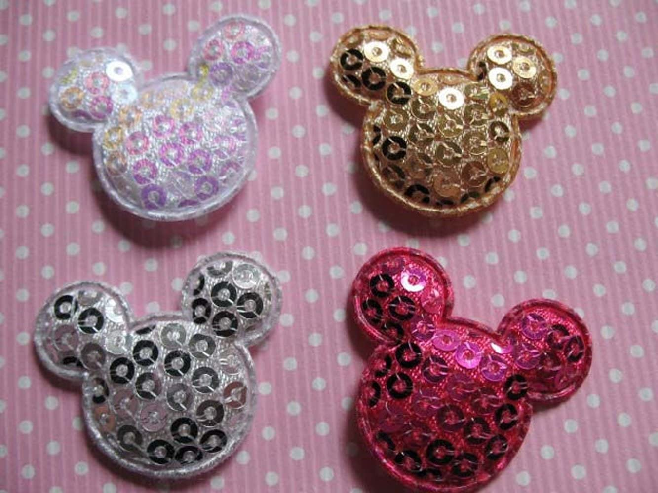 9 Colors YYCRAFT Pack of 90 Padded Felt Mouse Head w//Sequin Appliques