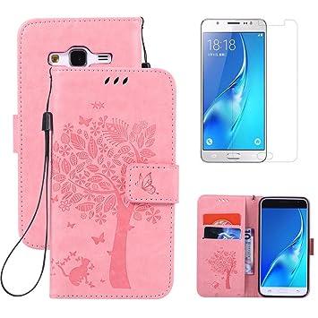 Samsung Galaxy J7 2016 Funda tipo cartera para niñas con protector de pantalla, oyime [oro rosa gato y mariposa árbol] diseño: Amazon.es: Software