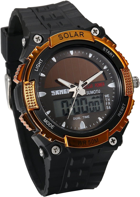 JewelryWe Reloj Deportivo Energía Solar Reloj de Hombre Digital para Aire Libre A Prueba de Agua 5 ATM, Tiempo Dual Reloj Digital Analógico con Luz del Fondo