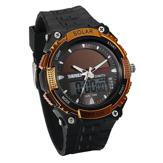 JewelryWe Reloj Deportivo Energía Solar Reloj de Hombre Digital para Aire Libre A Prueba de Agua
