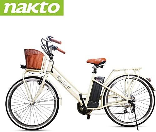 nakto 26 Electric Bike 6 Speed Electric Bikes for Adults 250W High Speed Ebike City Electric Bicycle with 36V 10AH 12AH Removable Lithium Battery and 1 Year Warranty Lock Charger