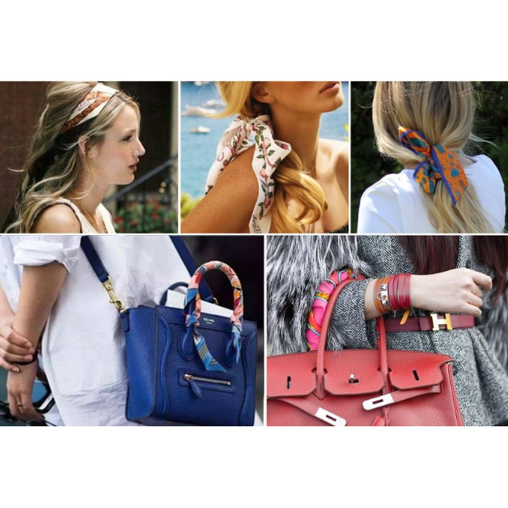 TOPSTORE01 Fleur De Lys Imprimer Femme Foulard Ruban Echarpe Décoration  Accessoire Sac à Main Bandeau à Cheveux Cravate Poignet De La Serviette  Noir ... fa937b20f17