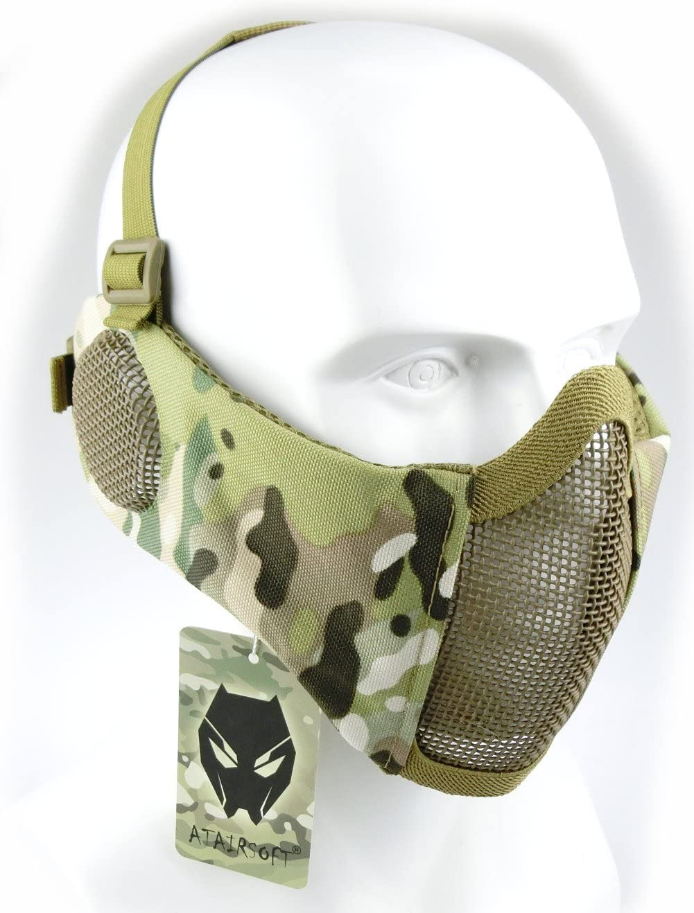 Mascarilla protectora de malla inferior de nailon con cubierta para la oreja de Worldshopping4U, Tactical Airsoft CS, MC