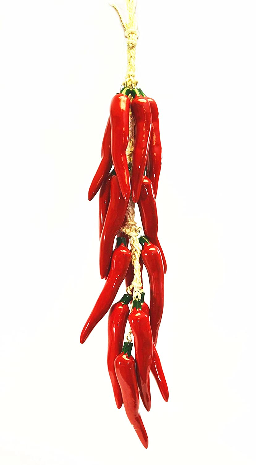 Amazon.com: Large Ristra/String of Ceramic Red Chile Peppers w/ 14-16 Peppers-28.5 Long: Home & Kitchen