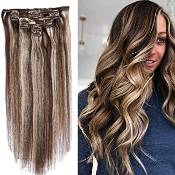 Amazon.com : Clip in Hair Extensions Ombre Two Tone Color ...