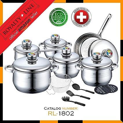Royalty Line RL-1802 18 piezas batería de cocina de acero ...