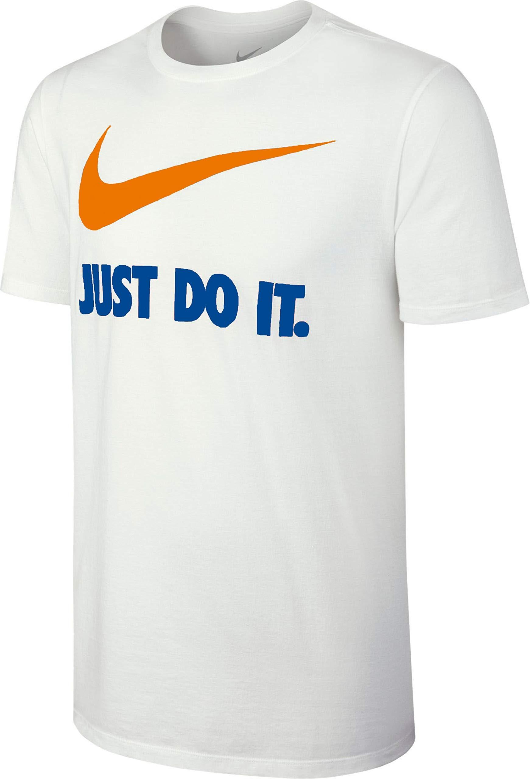 Nike Men's Sportswear New Just Do It Swoosh Tee … (Small, White/Orange/Royal Blue/Royal)