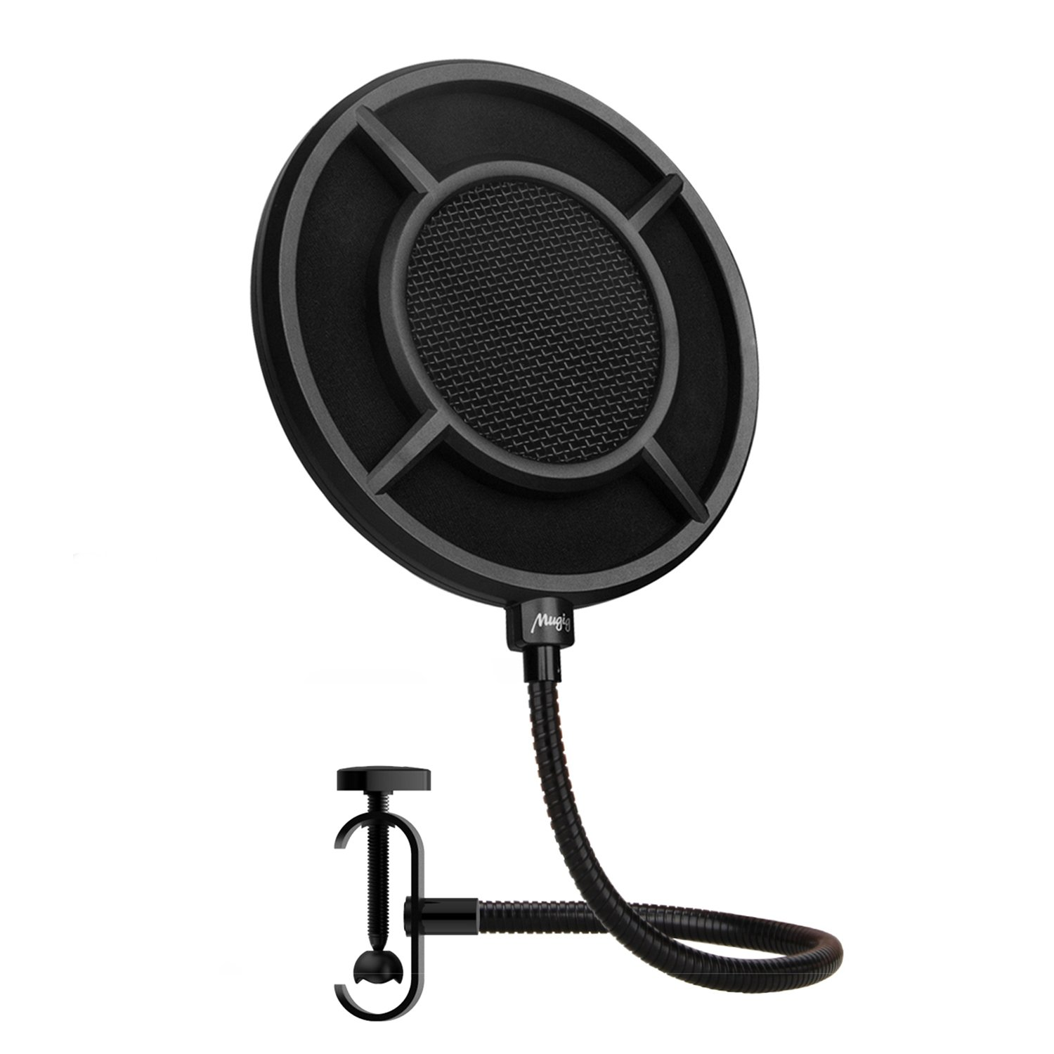 Mugig Pop Filter Mesh Metal Mezzanine with Double Nylon layer, Reinforce Arm, Studio Microphone Wind Screen for Recording and Broadcasting 6 inch NP-1