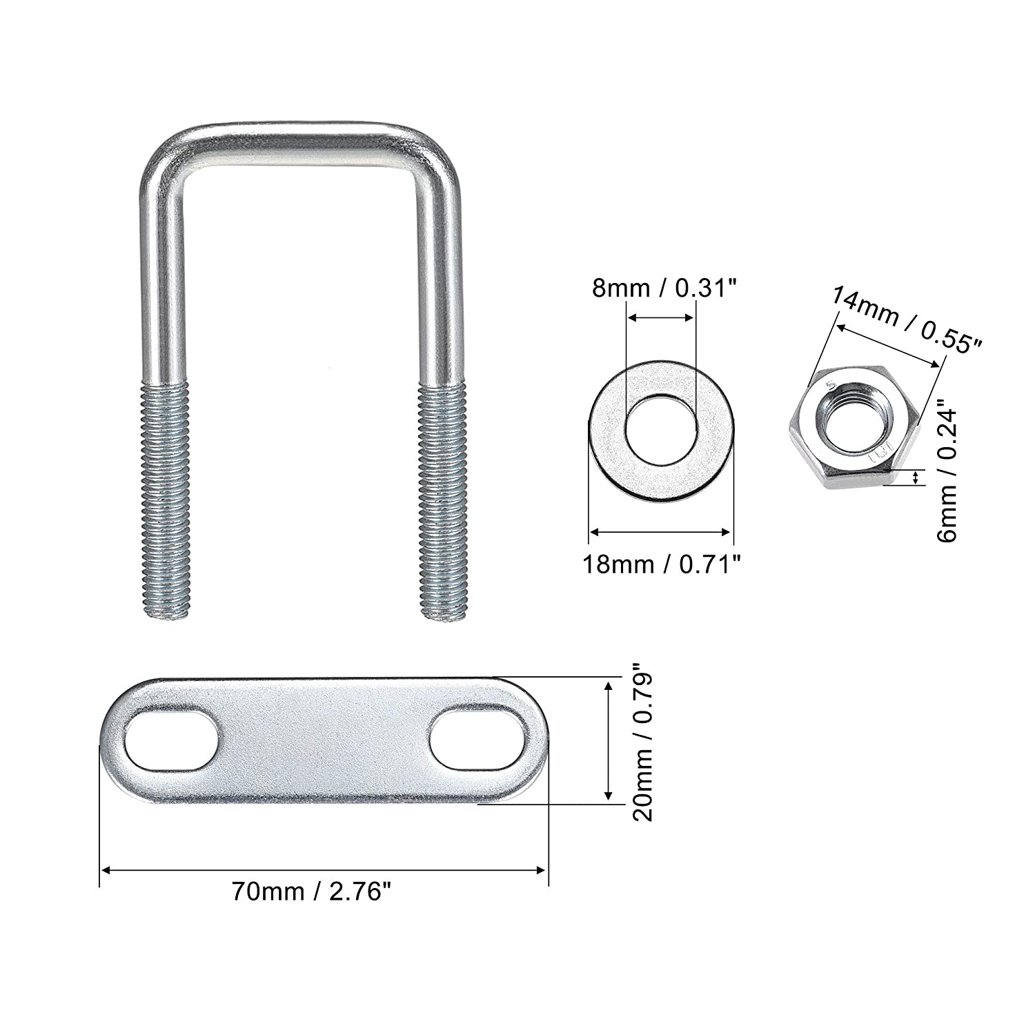 Round Washers 4 Set uxcell Square U-Bolts 1-5//8 40mm Inner Width Carbon Steel M8 with Nuts Frame Plate
