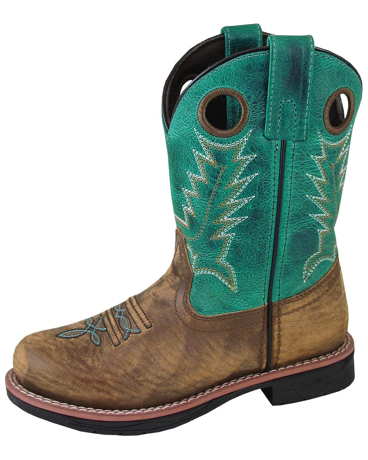 Smoky Mountain Boys' Buffalo Western Boot Round Toe Brown/Blue 6 D