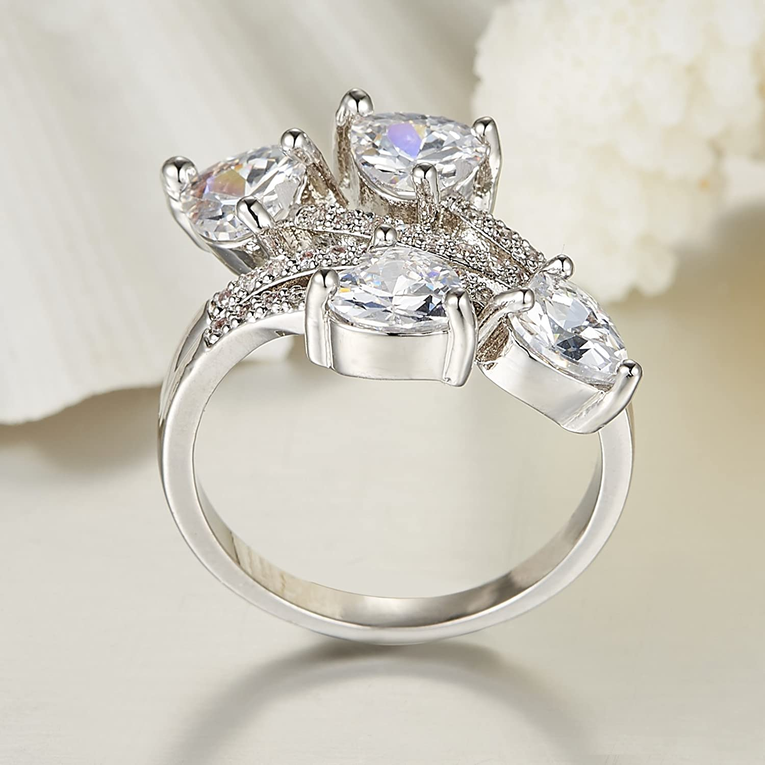 Psiroy 925 Sterling Silver Created White Topaz Filled Bypass Band Heart Engagement Ring