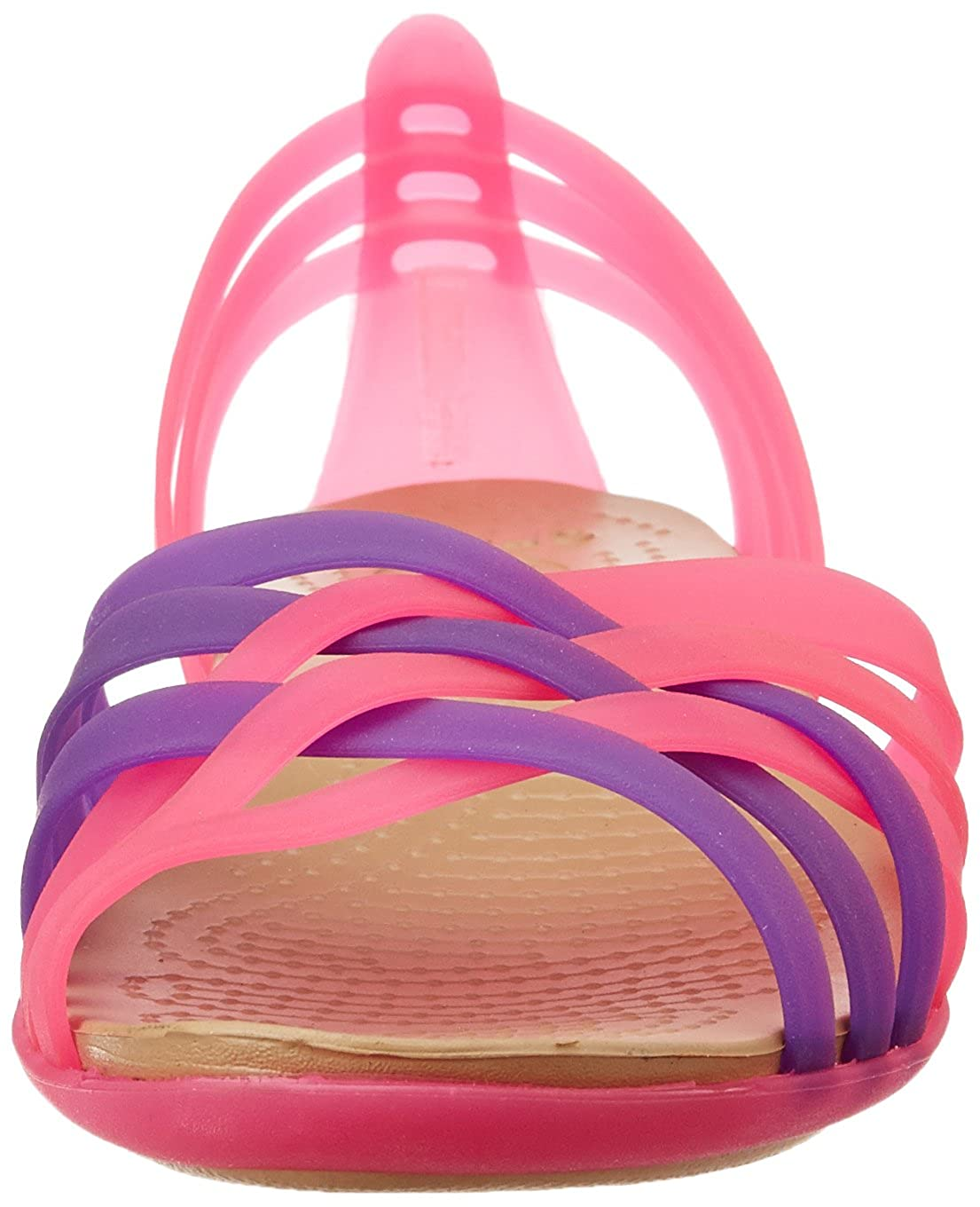46297f63df50 crocs Women s Huarache Flat Vibrant Pink and Neon Purple Rubber Ballet Flats  - W11  Buy Online at Low Prices in India - Amazon.in