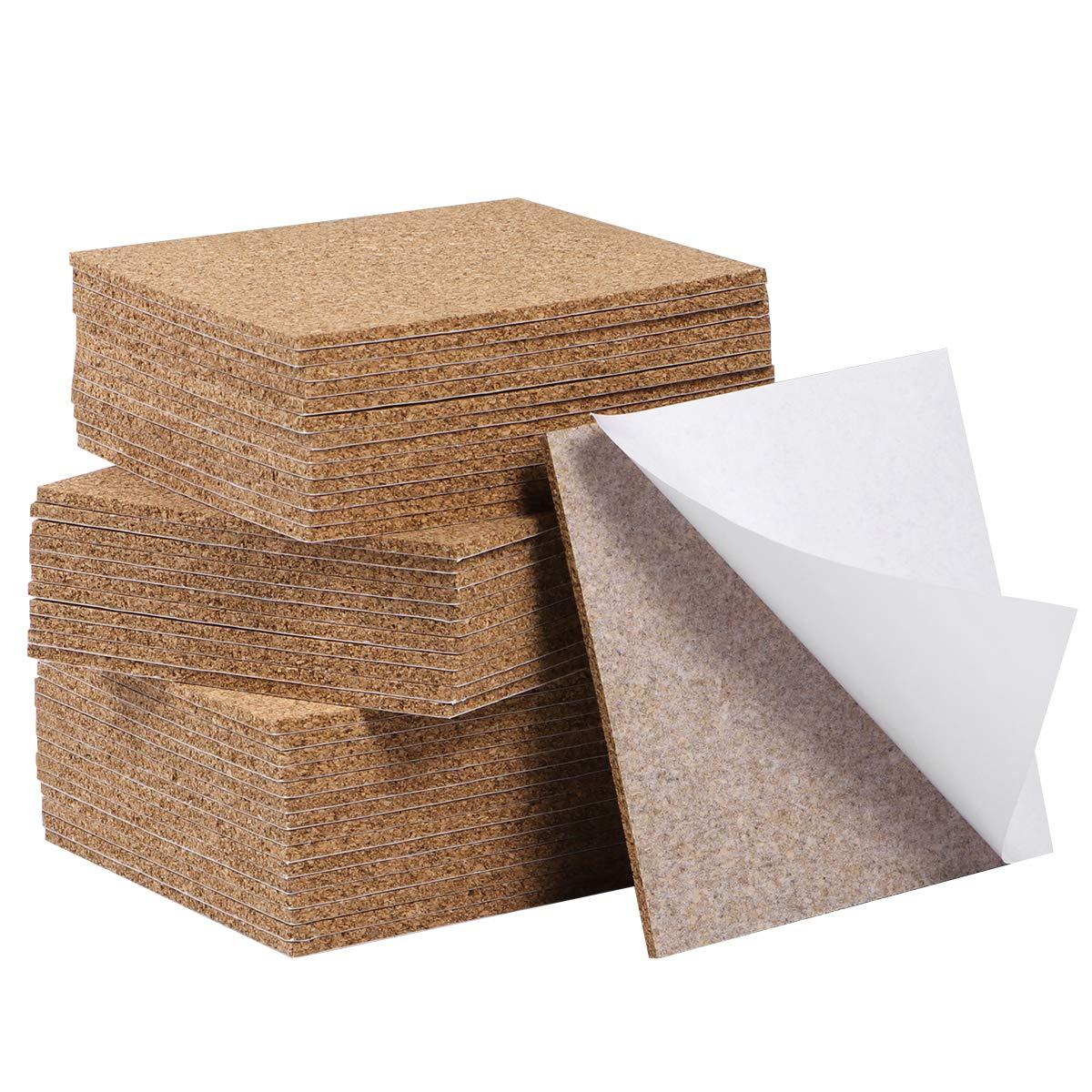 SUPVOX 80 pcs Cork Board Sheets for DIY Blank Cork Coasters Mat Decorative Cork Wall Tiles Self Adhesive Cork Squares