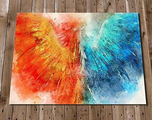 Amazon Com Phoenix Abstract Wall Art Print Poster Blue Orange Decor Colorful Fantasy Painting Handmade