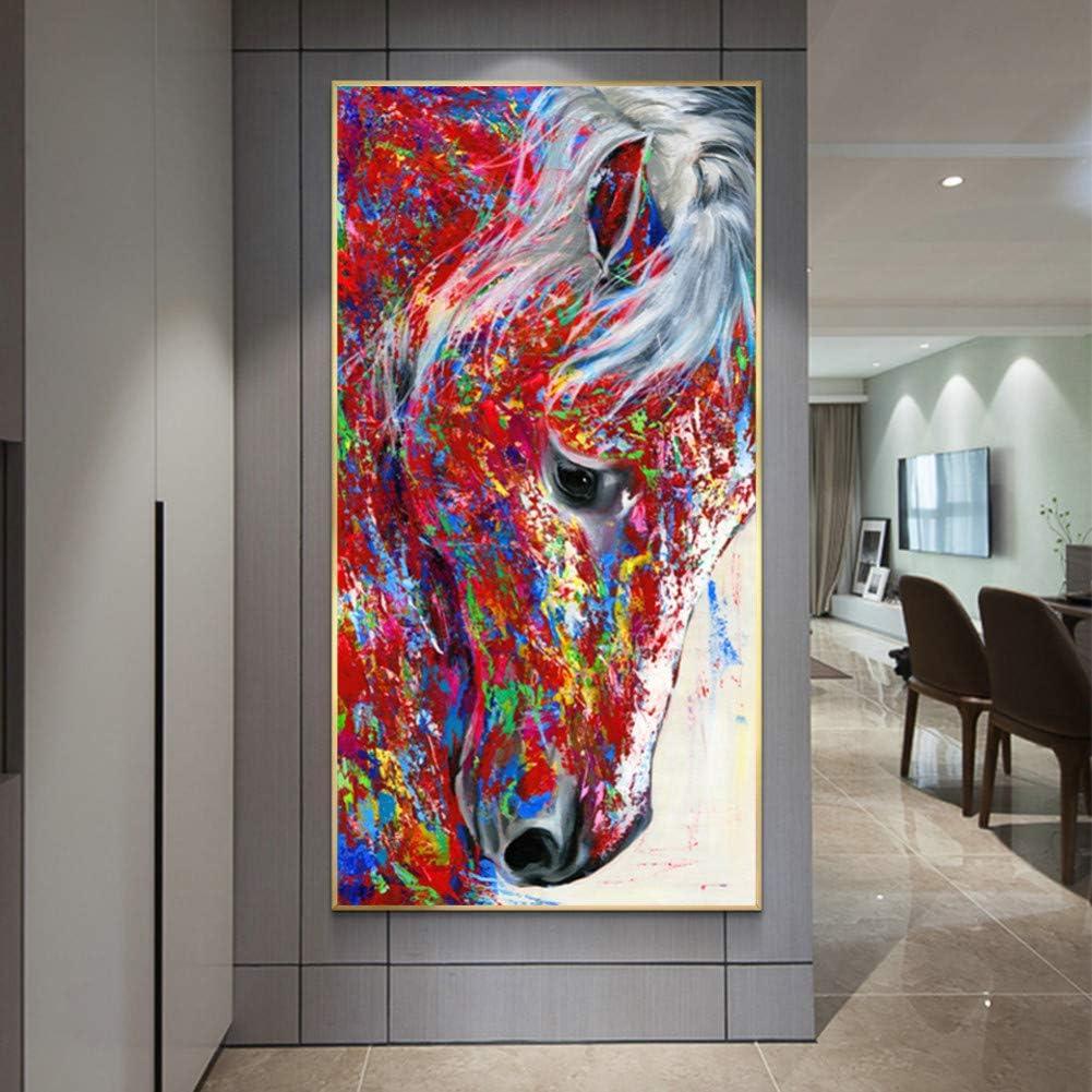 HULINJI Pintura de Lienzo Cabeza de Caballo Pintura al óleo Animal Cuadros de Pared para Sala de Estar Arte de Pared Impresión Carteles Decoración para el hogar