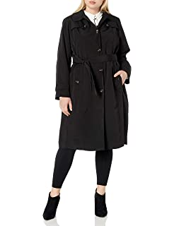 London Fog Womens Zip Front Thigh Length Quilt and Knit Coat with Hood LA420601G93