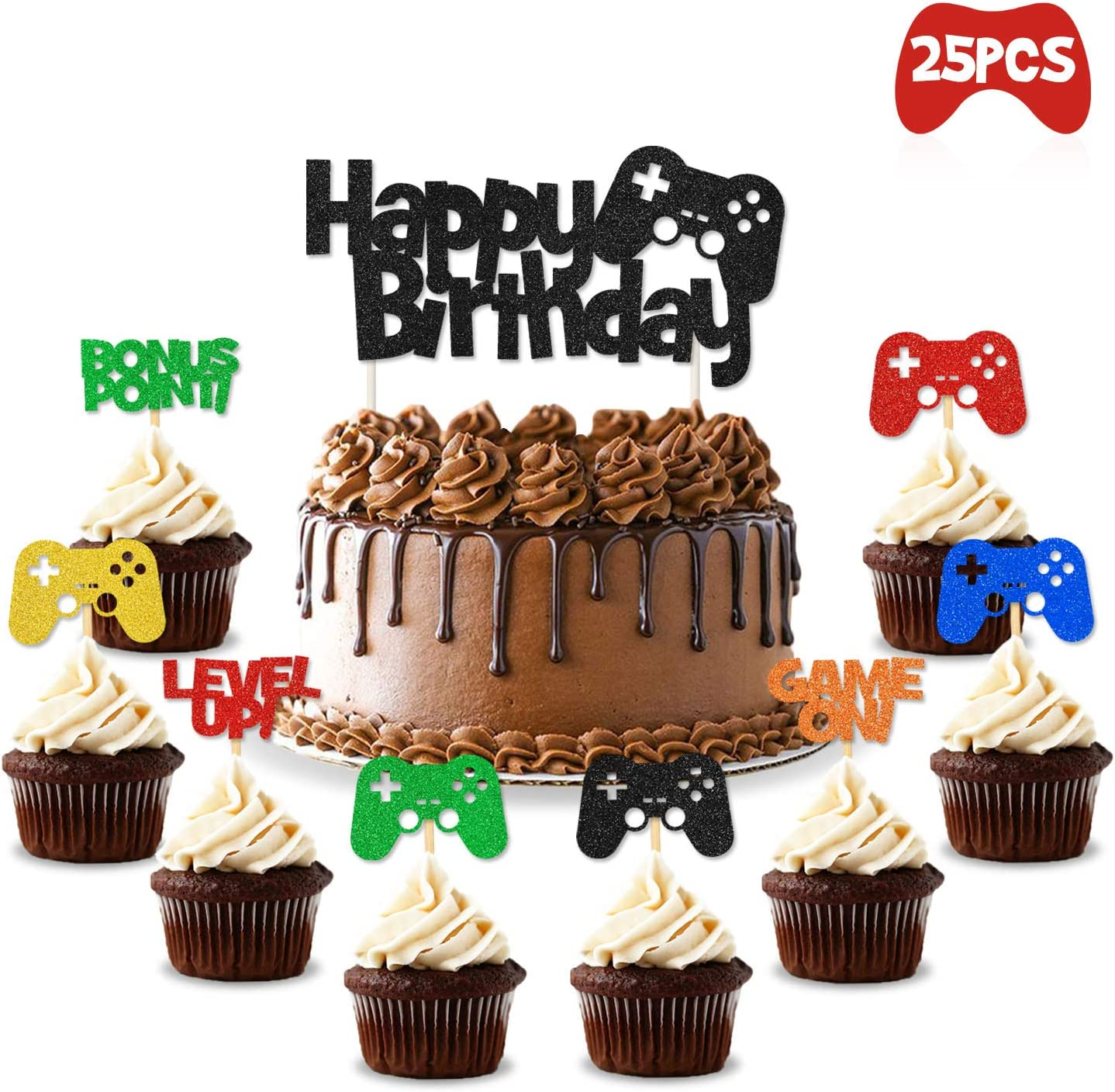 Amazing Amazon Com Video Gaming Party Cake Cupcake Toppers Gamer Party Funny Birthday Cards Online Alyptdamsfinfo