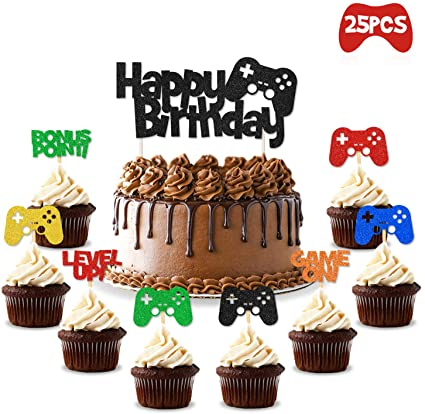 Miraculous Amazon Com Video Gaming Party Cake Cupcake Toppers Gamer Party Funny Birthday Cards Online Drosicarndamsfinfo
