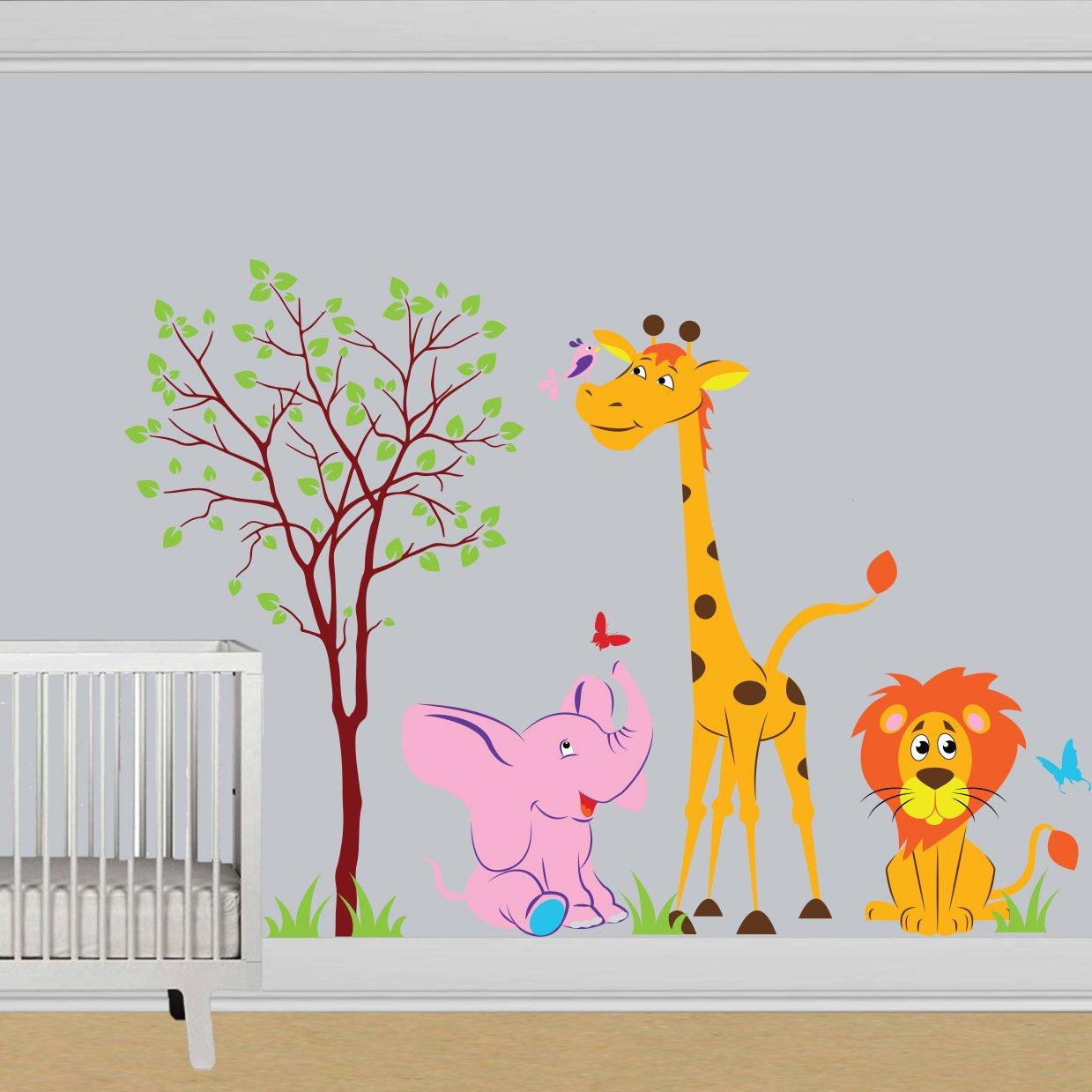 Vinilo de pared (200 x 140 cm) diseño de animales en un bosque ...