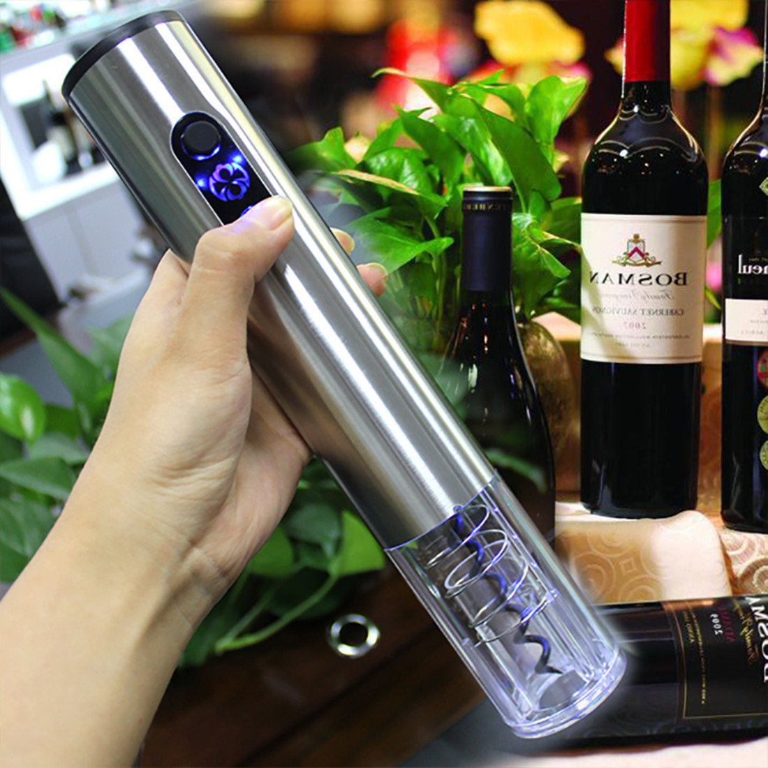 Electric Wine Opener, Rechargeable Automatic Wine Bottle Opener Set with Charger Stainless Steel Corkscrew with Foil Cutter