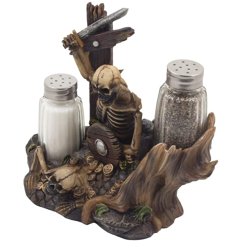 Skeleton Pirate Guarding Gold Treasure Salt and Pepper Shaker Set and Decorative Figurine Display Stand Holder for Halloween Decorations or Nautical Kitchen Table Decor As Gifts of Skulls & Skeletons by Home 'n Gifts (Image #2)