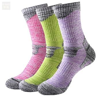 kashow deporte calcetines - 3 Pares Calcetines de algodón mujeres alto rendimiento comodidad acolchado - esquí montaña Running - tamaño 2,5 - 5,5: ...