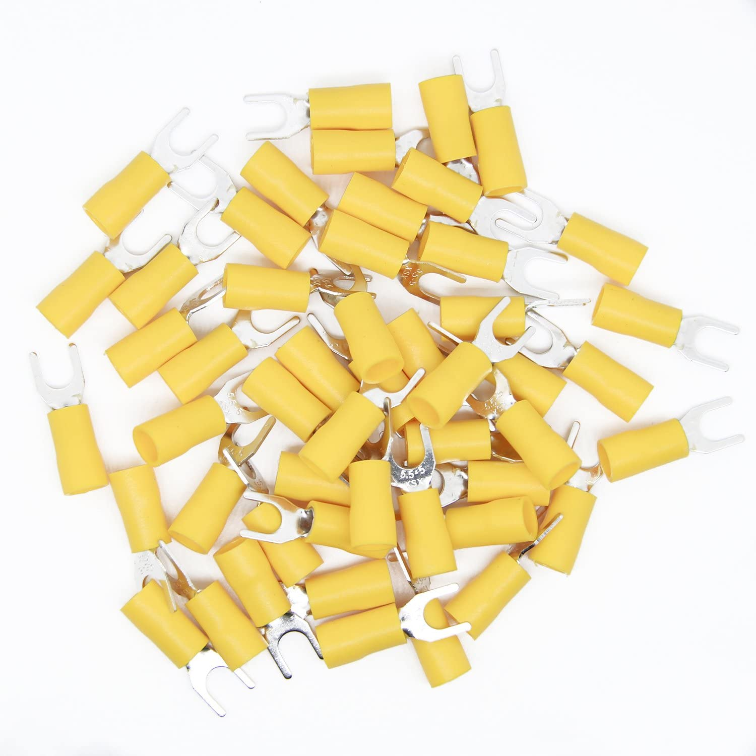 uxcell Heat Shrink Wire Connectors Wire Crimp Connectors Yellow for 12-10AWG 50Pcs