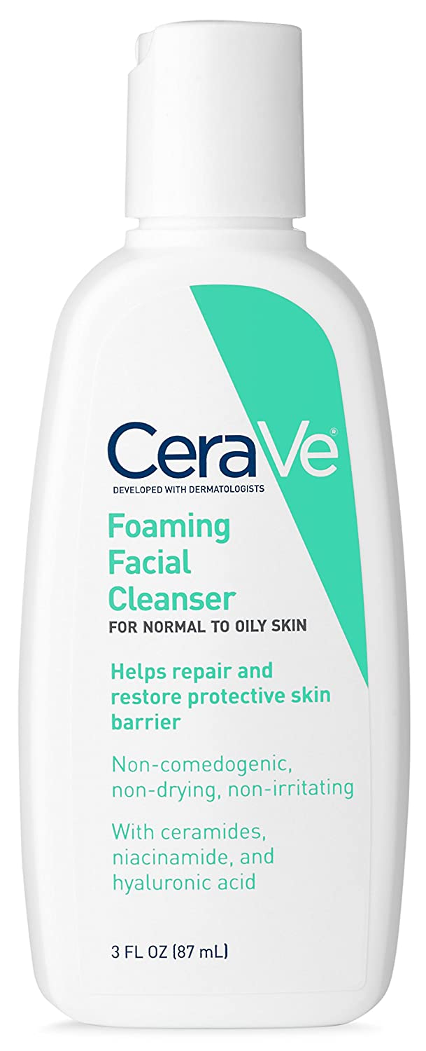 CeraVe Foaming Facial Cleanser | 3 Fl. Oz Travel Size | Daily Face Wash for Oily Skin | Fragrance Free