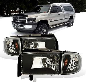 AmeriLite for 1994-2001 Dodge Ram 1500/1994-2002 Dodge Ram 2500 3500 Black OE Style Halogen Headlights Assembly Replacement w/Corner Lights Set - Passenger and Driver Side