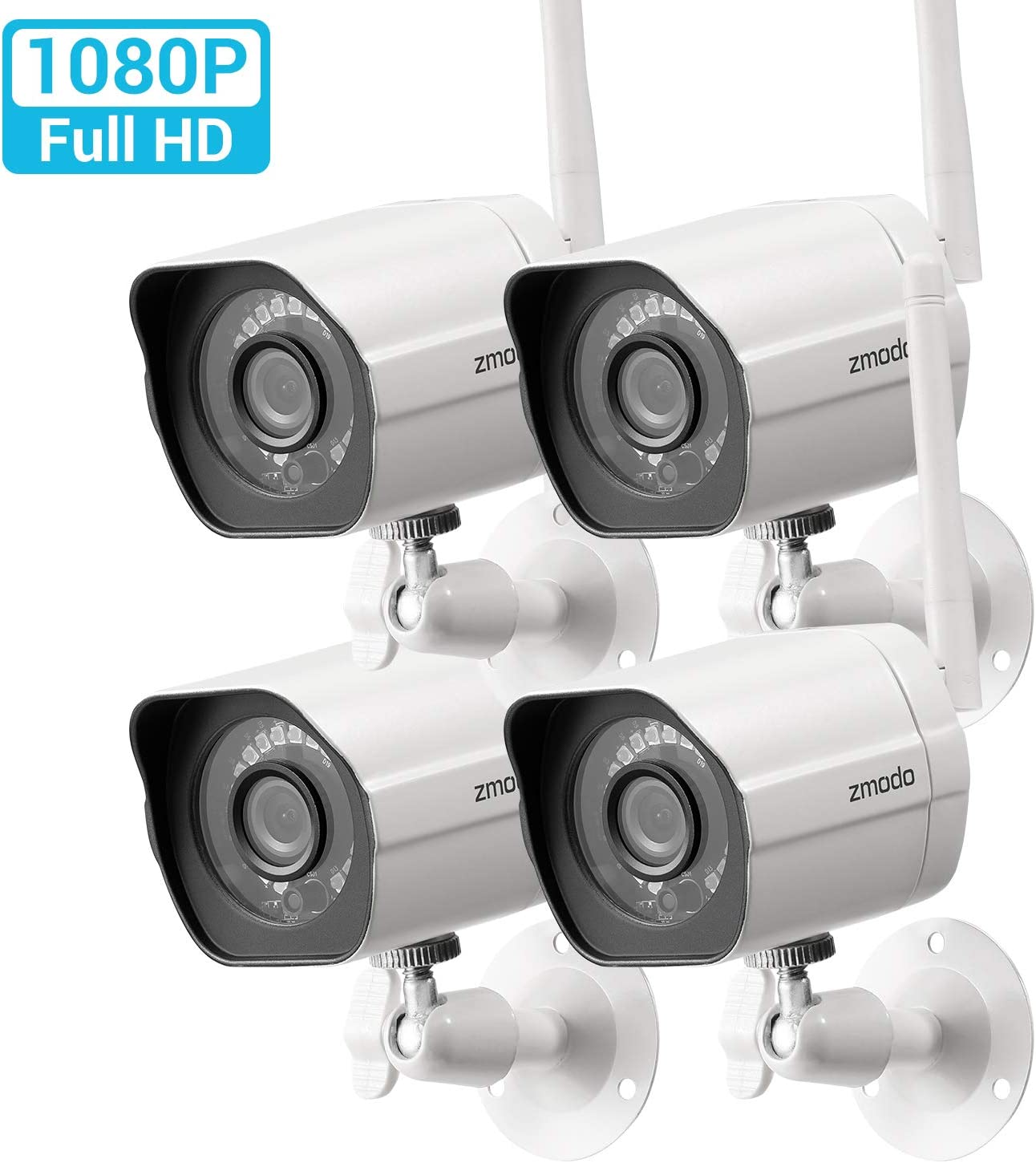 Zmodo Smart Wireless Security Camera System- 4 Pack- HD Indoor/Outdoor WiFi IP Cameras with Night Vision Easy Remote Access - Cloud Service Available
