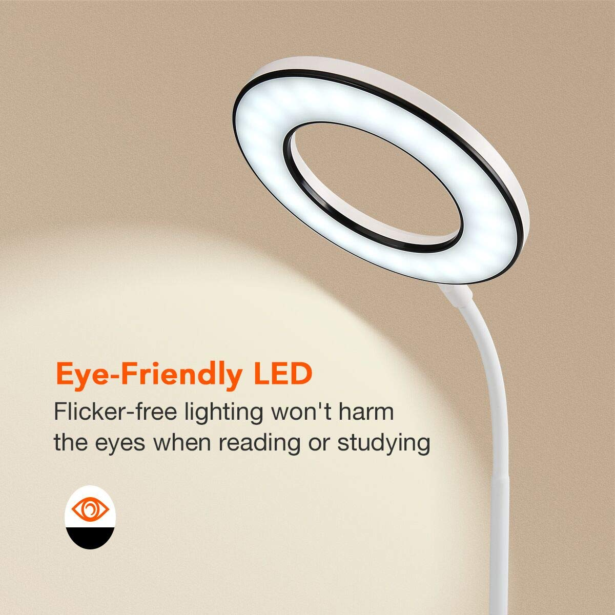Miady LED Desk Lamp Eye-Caring Table Lamp, 3 Color Modes with 4 Levels of Brightness, Dimmable Office Lamp with Adapter, Touch Control Sensitive, 360° Flexible by Miady (Image #3)