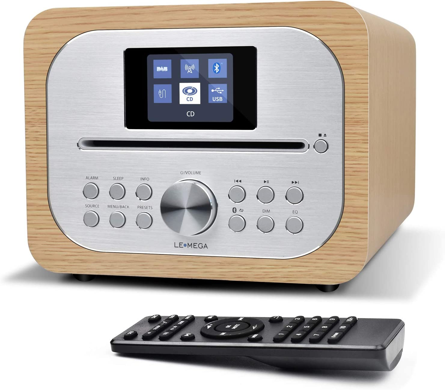 LEMEGA MSY2 All-in-One Music System with CD Player,FM Radio, Wireless Bluetooth,Wooden Box,Headphone-Out, USB Charging,USB MP3,Clock&Alarms, Colour Display, Remote Control –White Oak
