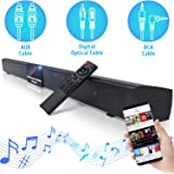 Geoyeao 34 Inch Soundbar with Dual Built-in Subwoofers and 4 Full Range Speakers 60W