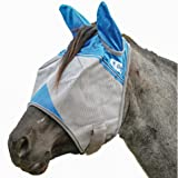 Cashel Crusader Standard Fly Mask with Ears and Blue Trim, Benefit Wounded Warriors - All Sizes