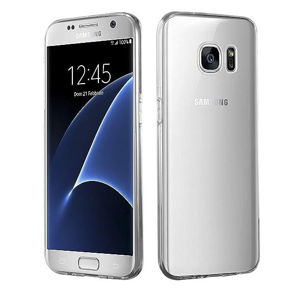 HSP Transparente Hülle kompatibel mit Samsung Galaxy S7 | Premium TPU (Silikon) Case | Kompatibel für Induktives Laden | Micr