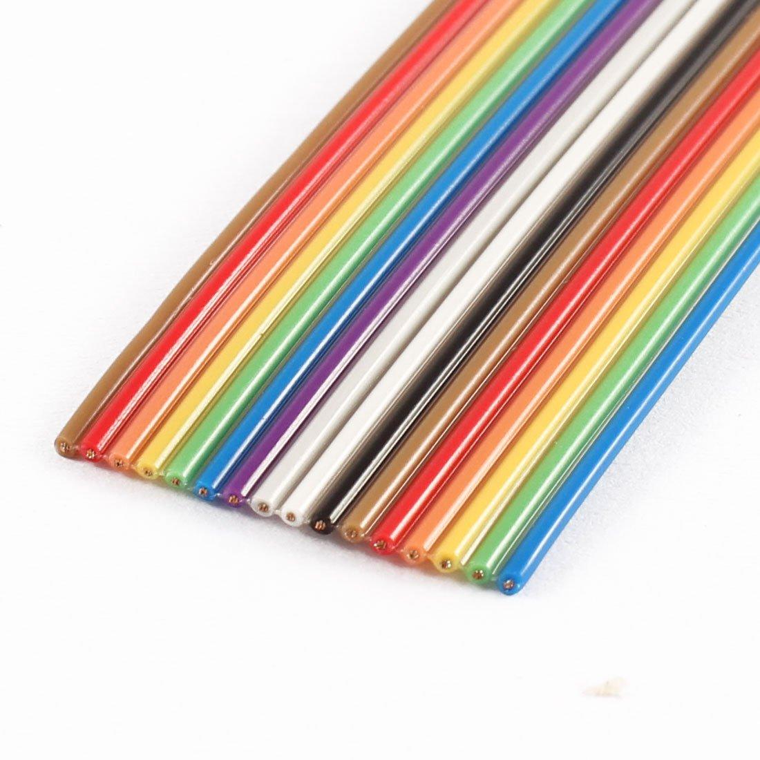 SOURCING MAP sourcingmap/® 4M Cable plano IDC Cable 1.27mm de espaciado DIY de los colores del arco iris de 16 pines