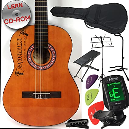 Andaluza Spanish Styled abeto – Guitarra clásica con para principiantes, y escolar, con 10