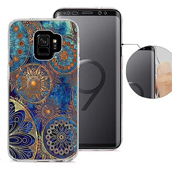 best cheap 8083e 511a7 Samsung S9 Case, Galaxy S9 Case, Viwell Design Pattern Case, High Impact  Protective Case for Samsung Galaxy S9 Case Tile golden floral pattern