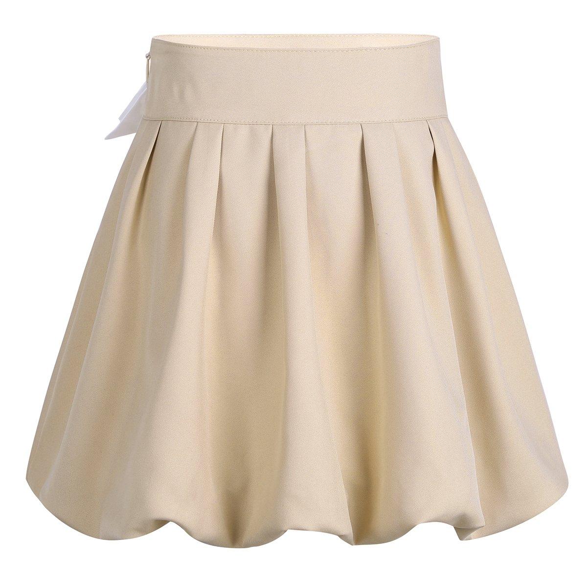 WOZOW Teen Girls Scotland Plaid School Uniform A-line High Waisted Mini Skirts Cotton Skirt