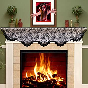 aytai lace spider bats mantel scarfunique cobweb fireplace mantle scarf for halloween fireplace decoration - Halloween Fireplace