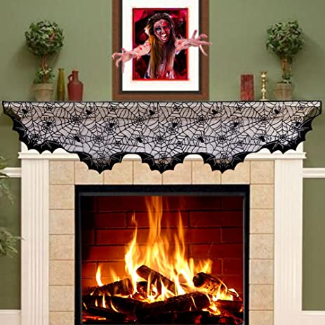 aytai lace spider bats mantel scarfunique cobweb fireplace mantle scarf for halloween fireplace decoration