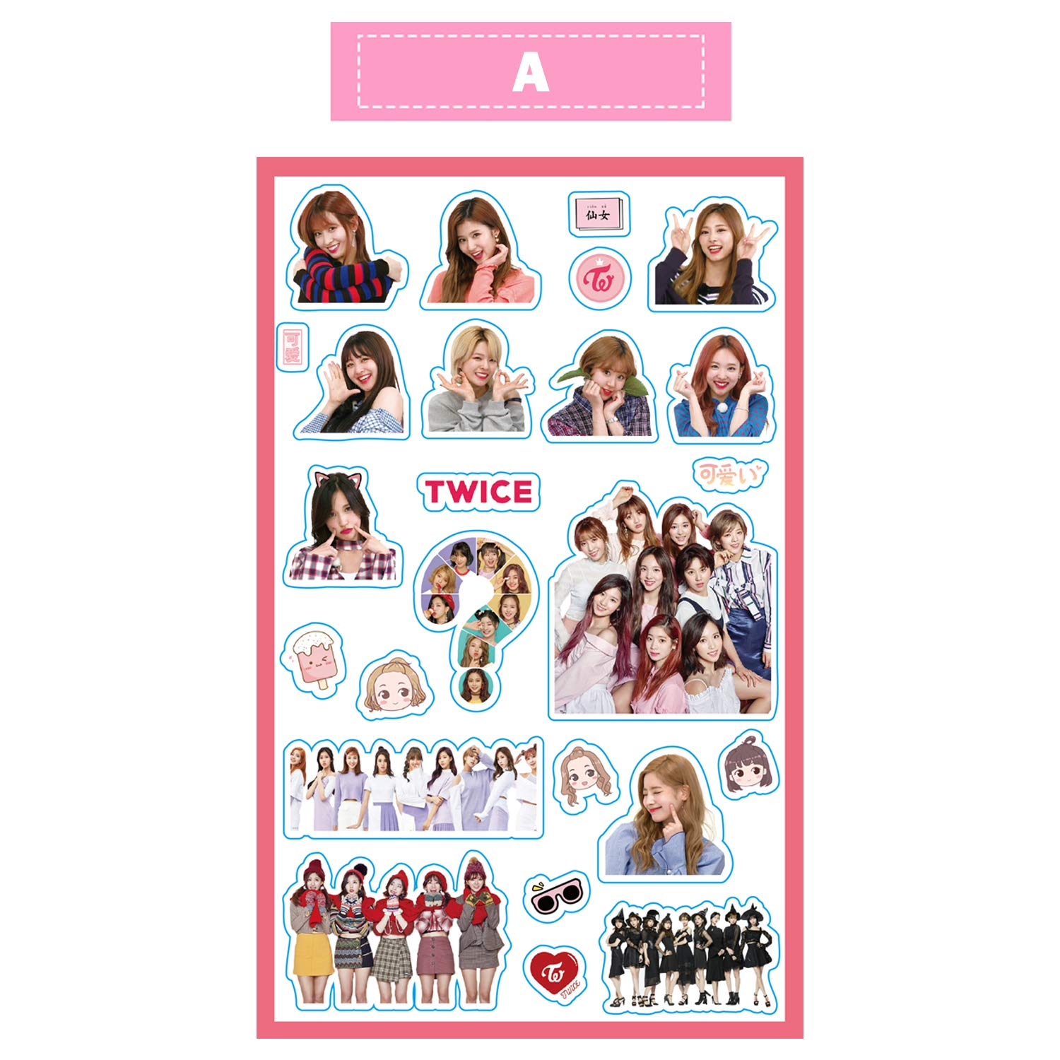 Twice-A, 2pcs Twice Kpop Cute Stickers for Laptop Car Decoration Cellphone Decal