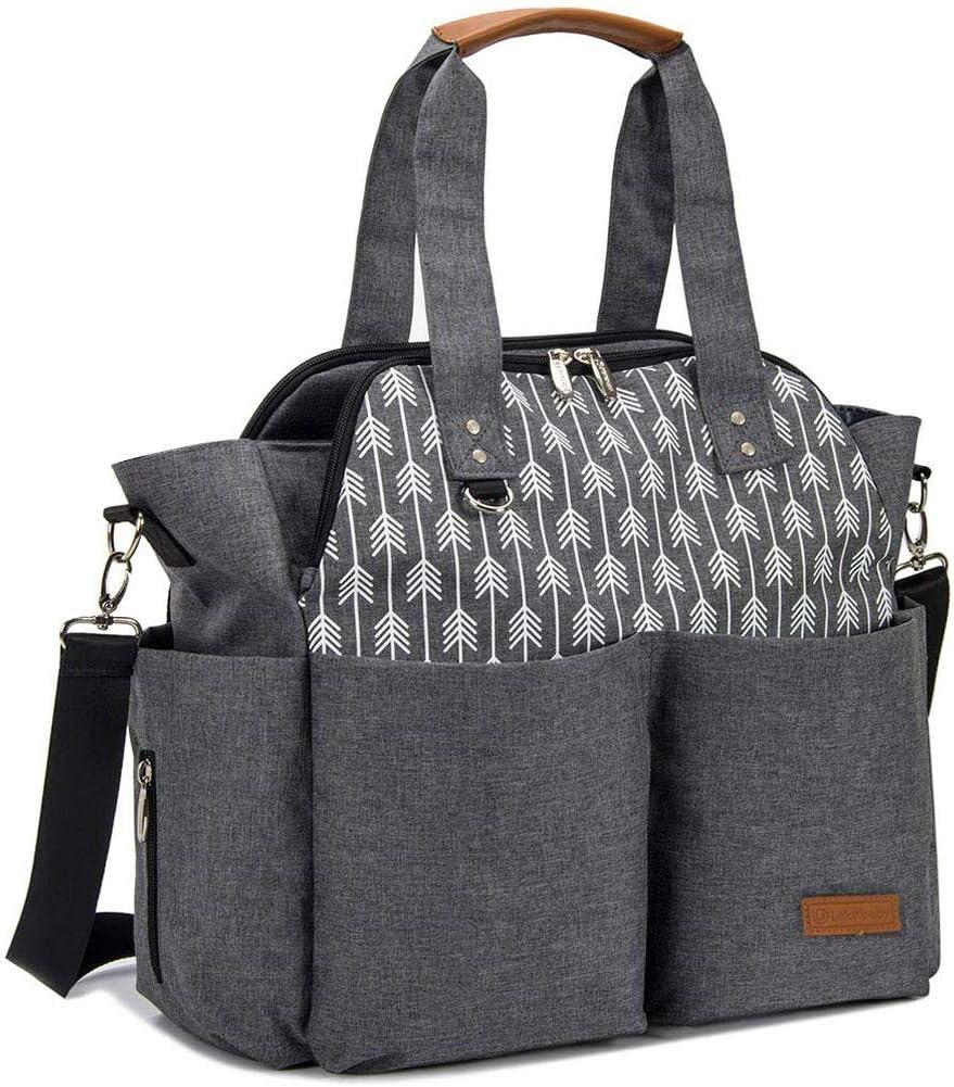 Lekebaby Bolso cambiador de pañales para mamá y niña, Satchel Messenger de gran capacidad, impresión de flecha, gris