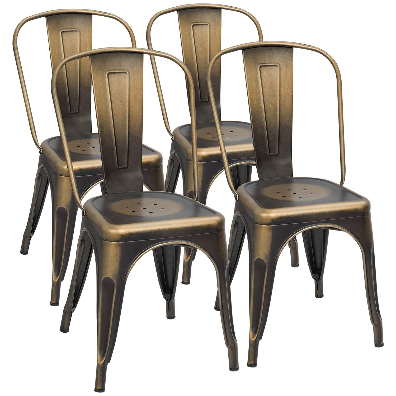 Furmax Metal Chairs Stackable Dining Indoor Outdoor Use Bistro Cafe Side Patio Chairs Set of 4 (Gold) by Furmax