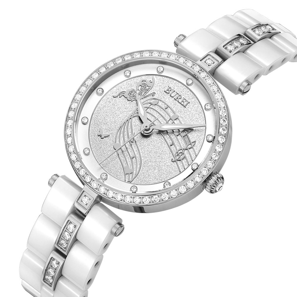 BUREI Womens Stylish Quartz Watches with Pretty Face Diamond Bezel Mineral Glass Ceramic Strap by BUREI
