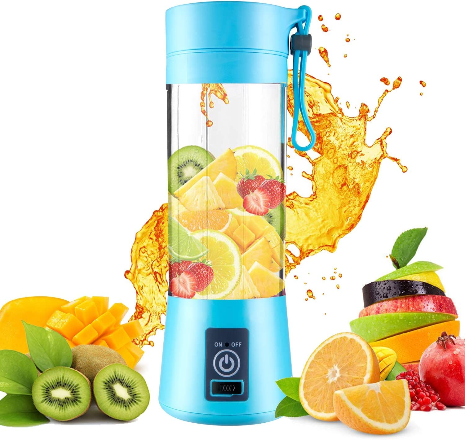 Portable Blender Single Serve, Personal Size Blender USB Rechargeable Juicer Cup Fruit Mixing Machine Baby Travel 380ml FDA, BPA-Free (blue)