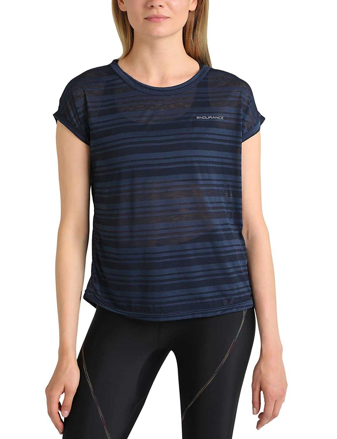 Ultrasport Endurance T-Shirt Skegness for Women – top with a crew neck – striped pattern made of mottled yarn jersey – women's basics – simple essential – single-coloured shirt – sports shirt
